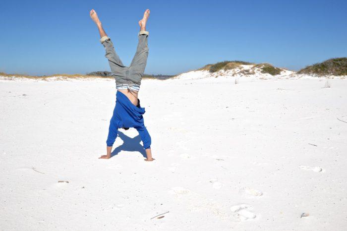 beach, handstand, man