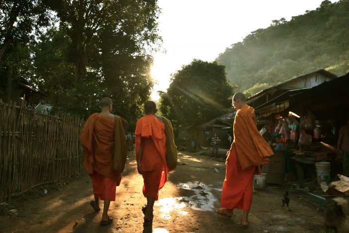 stock images daniel baylis walking with monks